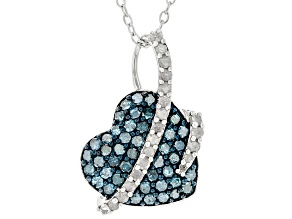 Blue And White Diamond Rhodium Over Sterling Silver Heart Cluster Pendant With Chain 0.75ctw