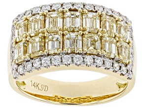 Natural Yellow And White Diamond 14K Yellow Gold Wide Band Ring 2.33ctw