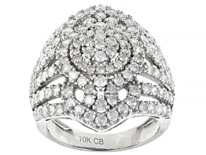 White Diamond 10K White Gold Cocktail Ring 2.15ctw