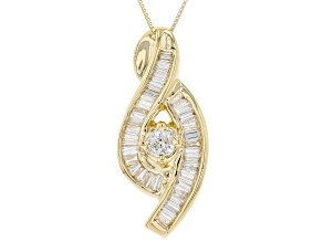 White Diamond 14K Yellow Gold Bypass Pendant With Chain 0.84ctw