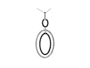 Black And White Diamond Rhodium Over Sterling Silver Dangle Pendant With Chain 0.20ctw