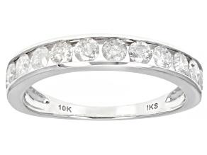White Diamond 10K White Gold Band Ring 1.00ctw