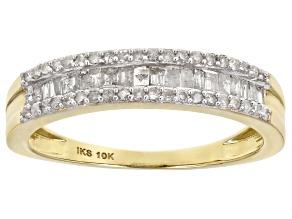 White Diamond 10K Yellow Gold Band Ring 0.40ctw