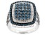 Blue Diamond Rhodium Over Sterling Silver Cluster Ring 1.75ctw