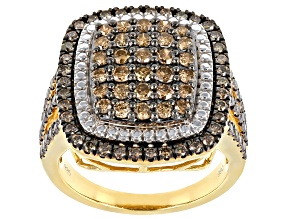 Champagne Diamond 14K Yellow Gold Over Sterling Silver Cluster Ring 1.75ctw