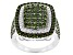 Green Diamond Rhodium Over Sterling Silver Cluster Ring 1.75ctw