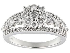 White Diamond 10K White Gold Cluster Ring 1.45ctw