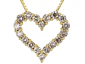 Champagne Diamond 14K Yellow Gold Over Sterling Silver Heart Pendant With Chain 1.10ctw