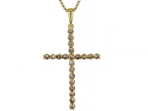 Champagne Diamond 14K Yellow Gold Over Sterling Silver Cross Pendant With Chain 0.45ctw