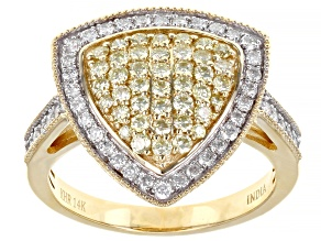 Natural Yellow And White Diamond 14k Yellow Gold Cluster Ring 0.95ctw