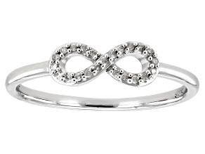 White Diamond Accent 10k White Gold Infinity Band Ring