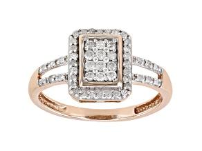 White Diamond 10k Rose Gold Quad Ring 0.33ctw