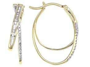 White Diamond 10k Yellow Gold Hoop Earrings 0.25ctw
