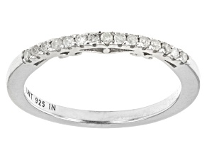 White Diamond Rhodium Over Sterling Silver Band Ring 0.10ctw