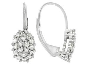 Diamond Rhodium Over Sterling Silver Drop Earrings 0.70ctw