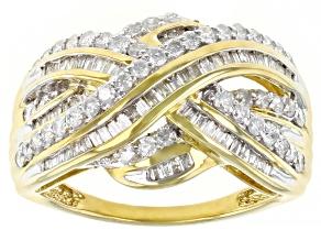 White Diamond 10k Yellow Gold Crossover Ring 1.00ctw
