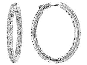 White Diamond 10k White Gold Inside-Outside Hoop Earrings 4.00ctw