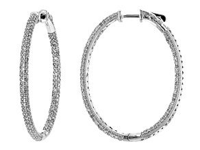 White Diamond 10k White Gold Inside-Outside Hoop Earrings 2.00ctw