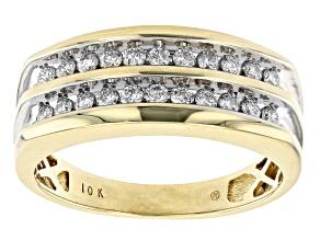 White Diamond 10k Yellow Gold Mens Multi-Row Ring 0.50ctw