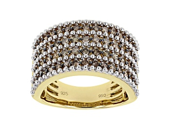 Picture of Champagne Diamond 14K Yellow Gold Over Sterling Silver Wide Band Ring 1.50ctw