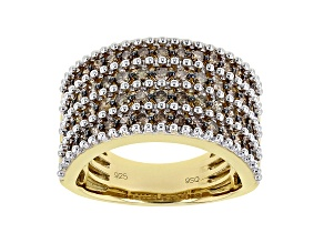Champagne Diamond 14K Yellow Gold Over Sterling Silver Wide Band Ring 1.50ctw