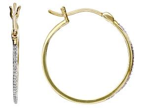 White Diamond 10k Yellow Gold Hoop Earrings 0.10ctw