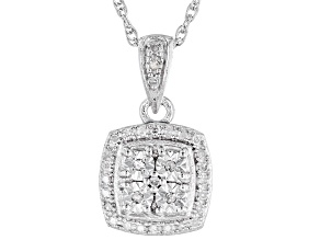 """White Diamond Rhodium Over Sterling Silver Cluster Pendant With 18"""" Rope Chain 0.10ctw"""