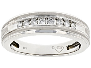 White Diamond 10k White Gold Mens Band Ring 0.25ctw