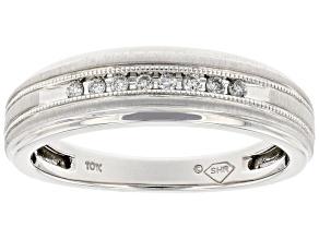 White Diamond 10k White Gold Mens Band Ring 0.10ctw