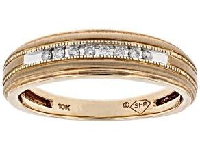 White Diamond 10k Yellow Gold Mens Band Ring 0.10ctw