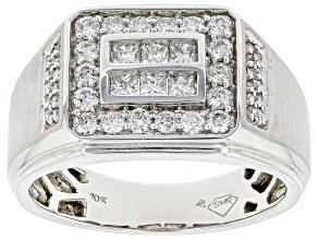 White Diamond 10k White Gold Mens Cluster Ring 1.00ctw
