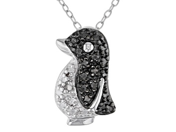 """Picture of White Diamond Accent Rhodium Over Sterling Silver Penguin Pendant With 18"""" Chain"""