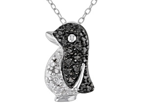 """White Diamond Accent Rhodium Over Sterling Silver Penguin Pendant With 18"""" Chain"""