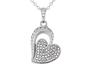 """White Diamond Accent Rhodium Over Sterling Silver Heart Pendant With 18"""" Chain"""