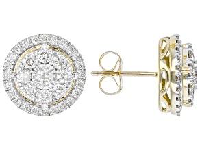 White Diamond 10k Yellow Gold Cluster Stud Earrings 1.00ctw