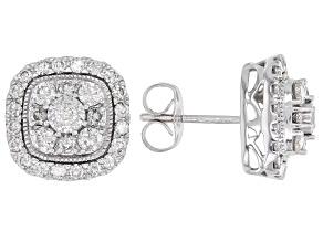 White Diamond 10k White Gold Cluster Stud Earrings 1.00ctw