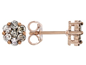 Champagne Diamond 18k Rose Gold Over Sterling Silver Cluster Stud Earrings 0.75ctw