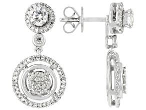 White Diamond 14k White Gold Convertible Earrings 0.75ctw