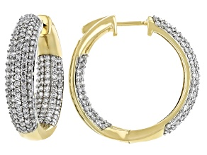 White Diamond 10K Yellow Gold Inside-Out Hoop Earrings 2.30ctw