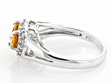 Orange Spessartite Sterling Silver Heart Shape Ring 1.49ctw