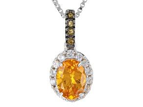 Orange Spessartite Garnet Sterling Silver Pendant With Chain 1.13ctw