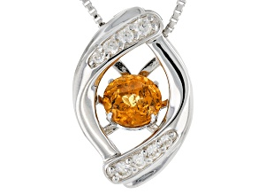 Orange Dancing Mandarin Garnet Sterling Silver Pendant With Chain .76ctw
