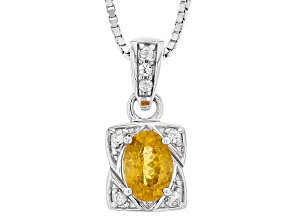Orange Mandarin Garnet Sterling Silver Pendant With Chain .71ctw