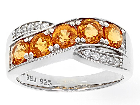 Orange Spessartite Sterling Silver Crossover Ring 1.42ctw