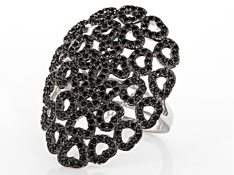Black Spinel Sterling Silver Ring 1.66ctw