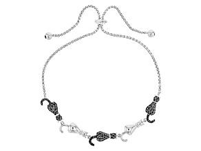 Black Spinel Sterling Silver Sliding Adjustable Cat Bracelet 1.10ctw