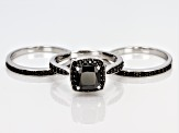 Black Spinel Sterling Silver Stackable 3 Ring Set 3.83ctw