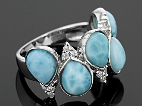 Blue Larimar Sterling Silver Ring .26ctw