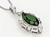 Green Chrome Diopside Sterling Silver Pendant With Chain 3.79ctw