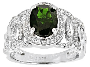 Green Chrome Diopside Sterling Silver Ring 2.38ctw